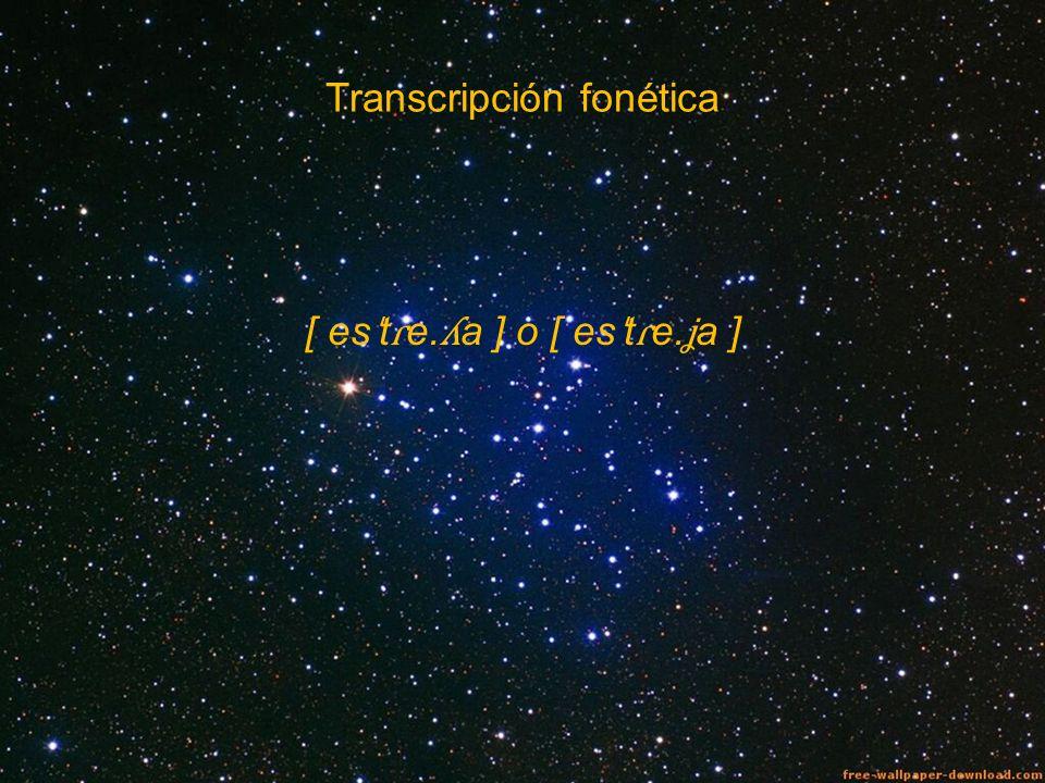 Transcripción fonética [ es ˈ t ɾ e. ʎ a ] o [ es ˈ t ɾ e. ʝ a ]