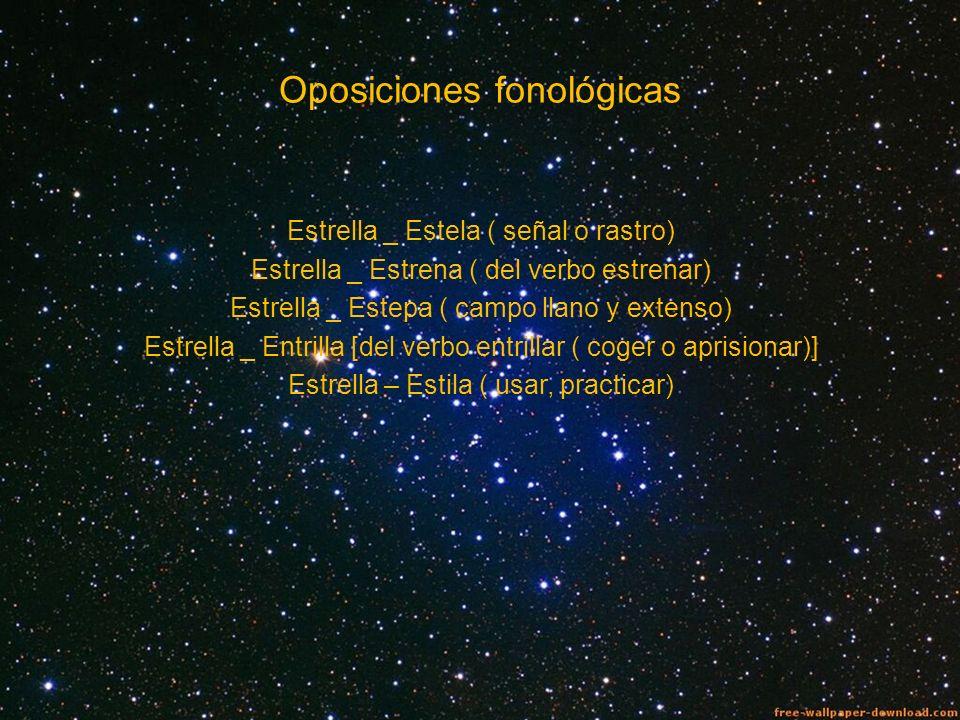 Oposiciones fonológicas Estrella _ Estela ( señal o rastro) Estrella _ Estrena ( del verbo estrenar) Estrella _ Estepa ( campo llano y extenso) Estrel