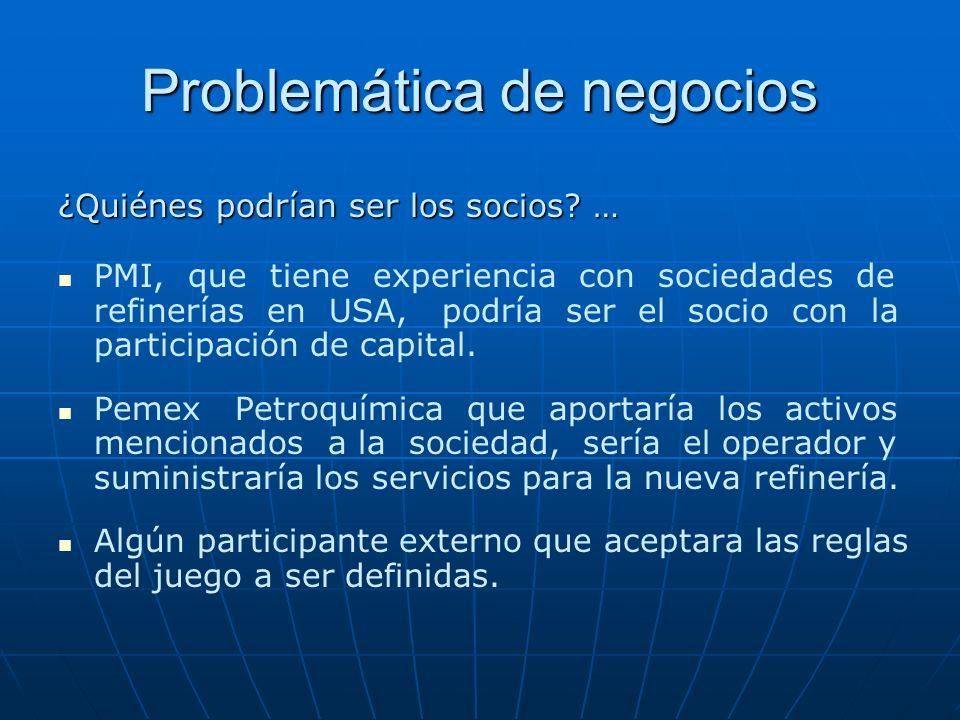 Problemática de negocios ¿Quiénes podrían ser los socios? … PMI, que tiene experiencia con sociedades de refinerías en USA, podría ser el socio con la