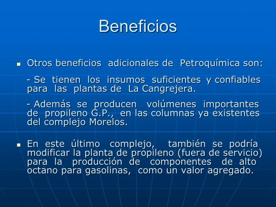 Beneficios Otros beneficios adicionales de Petroquímica son: Otros beneficios adicionales de Petroquímica son: - Se tienen los insumos suficientes y c