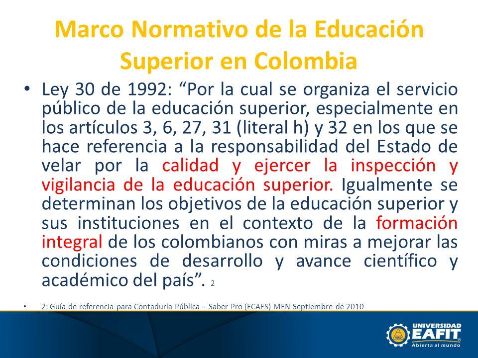 Marco Normativo de la Educación Superior en Colombia Ley 30 de 1992: Por la cual se organiza el servicio público de la educación superior, especialmen