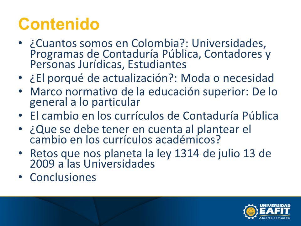 Contenido ¿Cuantos somos en Colombia?: Universidades, Programas de Contaduría Pública, Contadores y Personas Jurídicas, Estudiantes ¿El porqué de actu