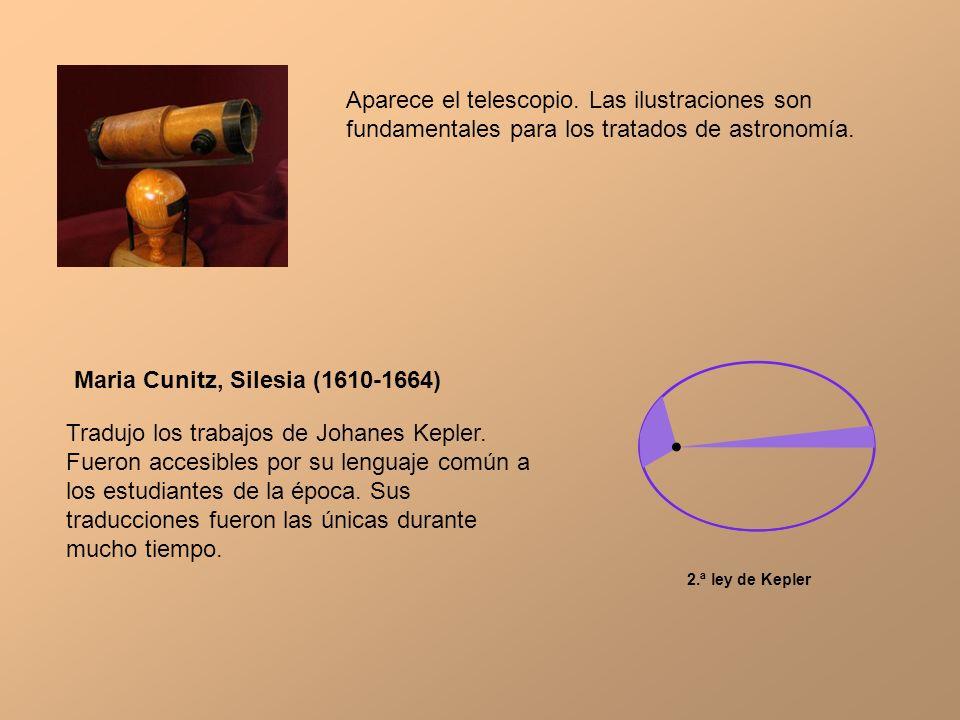 Aparece el telescopio. Las ilustraciones son fundamentales para los tratados de astronomía. Maria Cunitz, Silesia (1610-1664) Tradujo los trabajos de