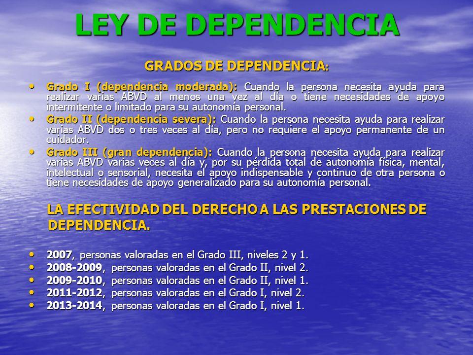 LEY DE DEPENDENCIA GRADOS DE DEPENDENCIA : Grado I (dependencia moderada): Cuando la persona necesita ayuda para realizar varias ABVD al menos una vez