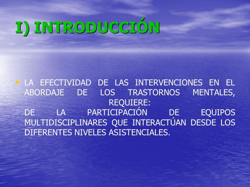 I) INTRODUCCIÓN LA EFECTIVIDAD DE LAS INTERVENCIONES EN EL ABORDAJE DE LOS TRASTORNOS MENTALES, REQUIERE: DE LA PARTICIPACIÓN DE EQUIPOS MULTIDISCIPLI