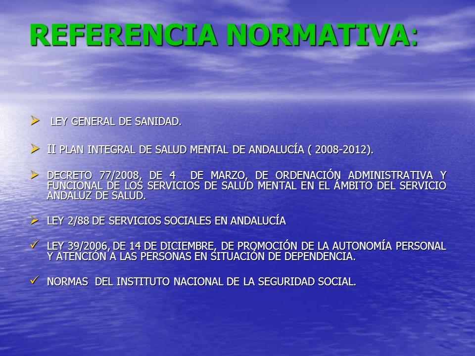 REFERENCIA NORMATIVA: LEY GENERAL DE SANIDAD. LEY GENERAL DE SANIDAD. II PLAN INTEGRAL DE SALUD MENTAL DE ANDALUCÍA ( 2008-2012). II PLAN INTEGRAL DE