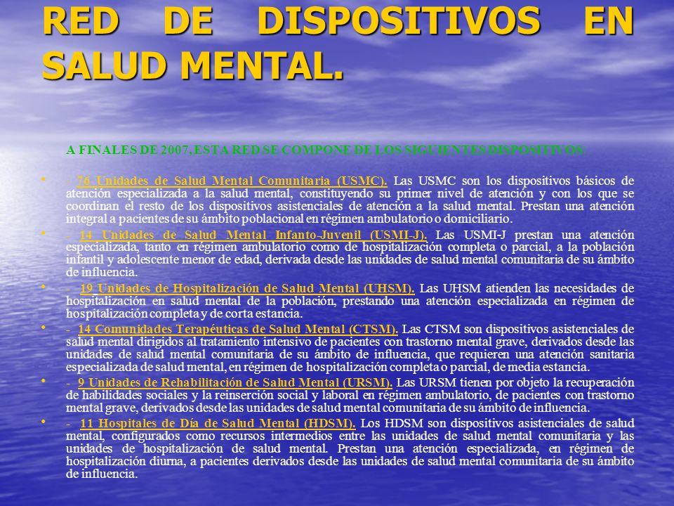 RED DE DISPOSITIVOS EN SALUD MENTAL. A FINALES DE 2007, ESTA RED SE COMPONE DE LOS SIGUIENTES DISPOSITIVOS: - 76 Unidades de Salud Mental Comunitaria