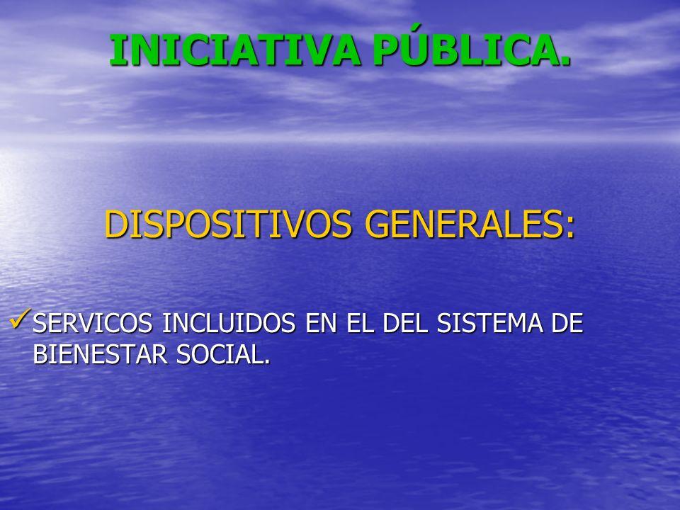 INICIATIVA PÚBLICA. DISPOSITIVOS GENERALES: SERVICOS INCLUIDOS EN EL DEL SISTEMA DE BIENESTAR SOCIAL. SERVICOS INCLUIDOS EN EL DEL SISTEMA DE BIENESTA