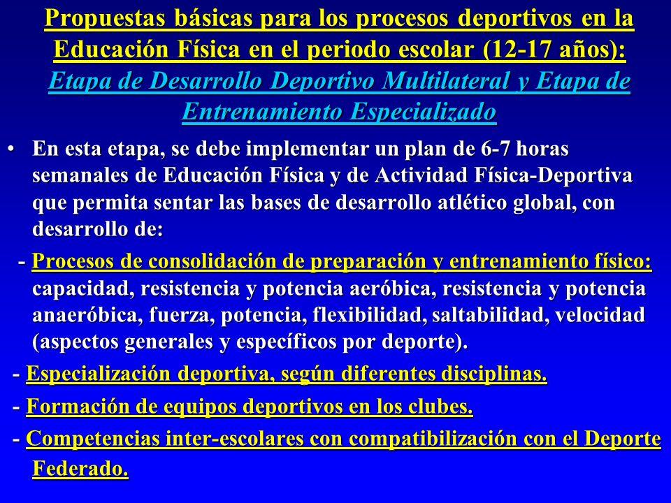 Propuestas básicas para los procesos deportivos en la Educación Física en el periodo escolar (12-17 años): Etapa de Desarrollo Deportivo Multilateral