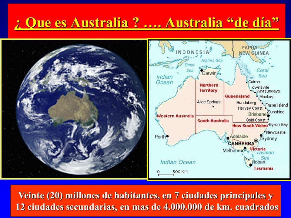¿ Que es Australia ? …. Australia de día Veinte (20) millones de habitantes, en 7 ciudades principales y 12 ciudades secundarias, en mas de 4.000.000
