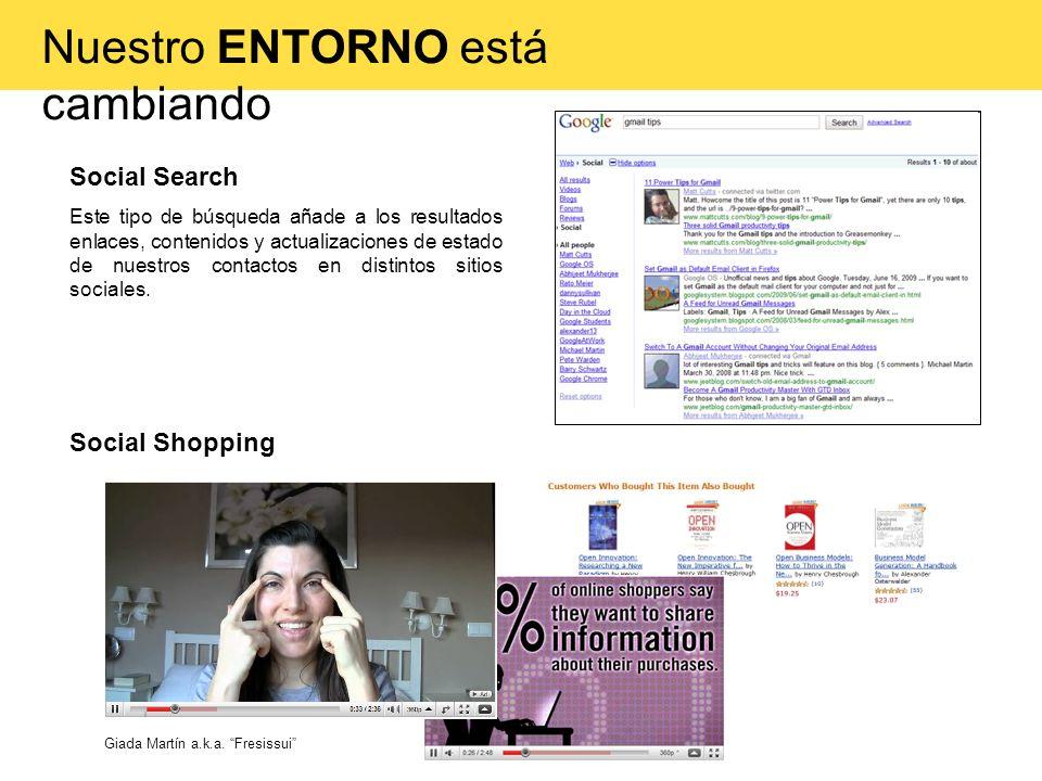 Social Search Este tipo de búsqueda añade a los resultados enlaces, contenidos y actualizaciones de estado de nuestros contactos en distintos sitios s