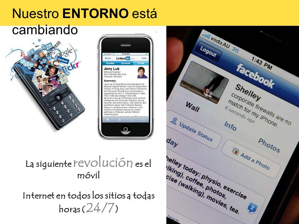 La siguiente revolución es el móvil Internet en todos los sitios a todas horas ( 24/7 ) Nuestro ENTORNO está cambiando