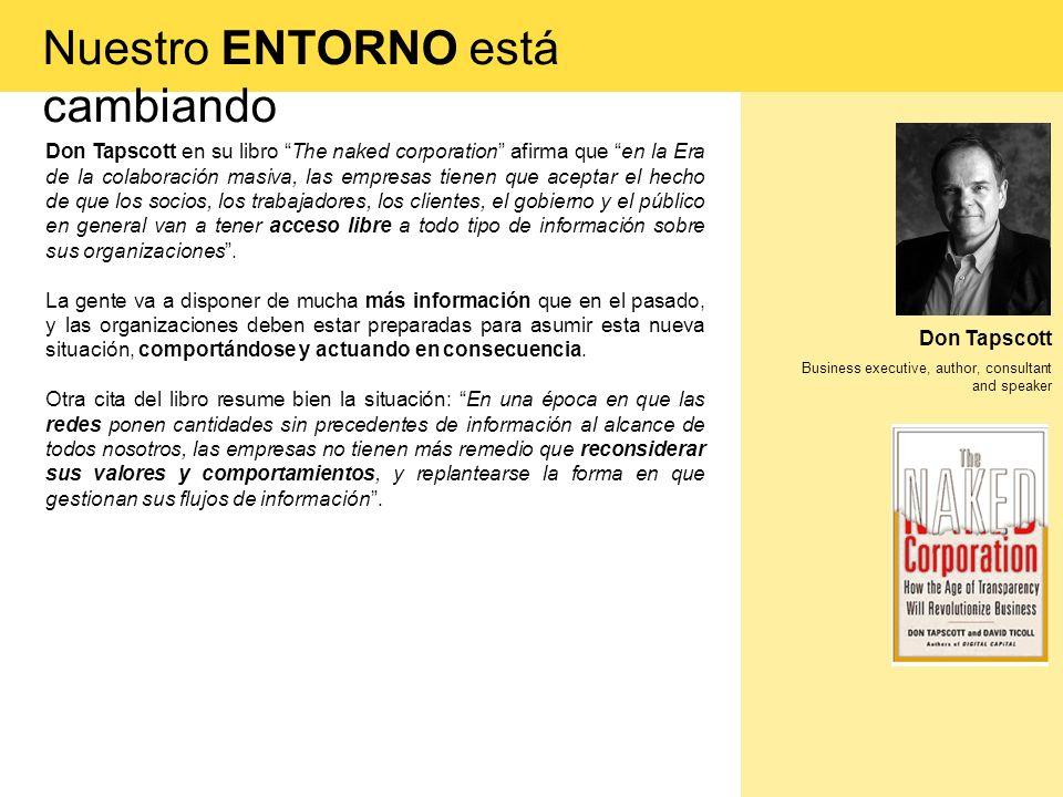 Don Tapscott Business executive, author, consultant and speaker Don Tapscott en su libro The naked corporation afirma que en la Era de la colaboración