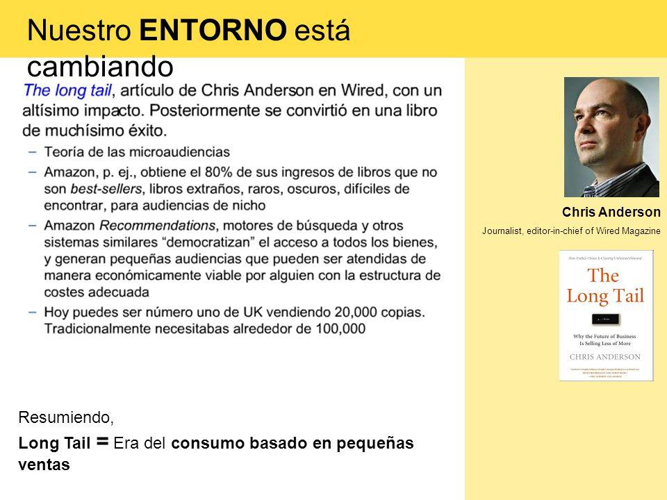 Chris Anderson Journalist, editor-in-chief of Wired Magazine Resumiendo, Long Tail = Era del consumo basado en pequeñas ventas Nuestro ENTORNO está ca