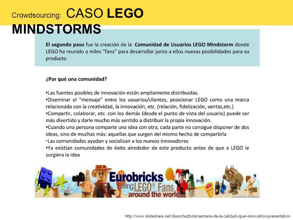 http://www.slideshare.net/dsanchezbote/semana-de-la-calidad-open-innovation-presentation Crowdsourcing: CASO LEGO MINDSTORMS