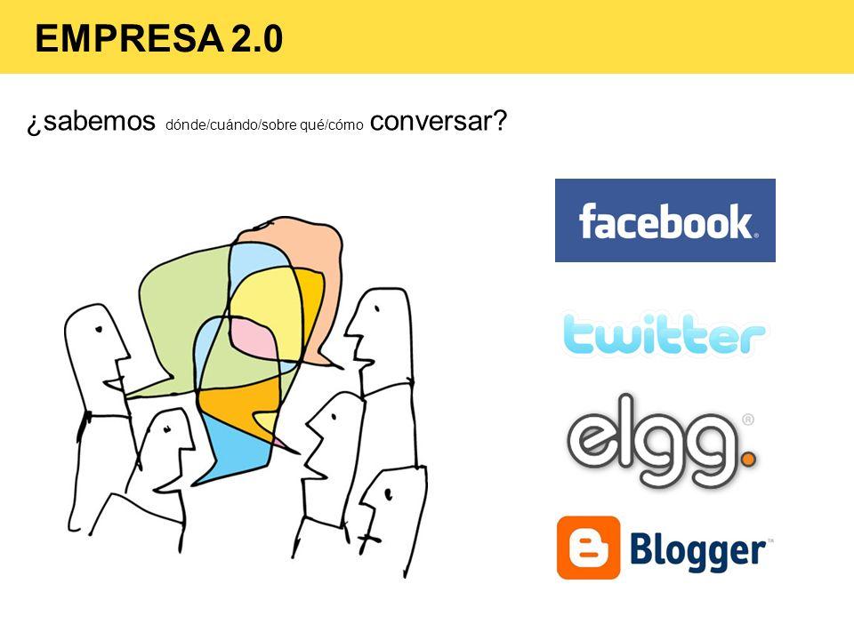 ¿sabemos dónde/cuándo/sobre qué/cómo conversar? EMPRESA 2.0