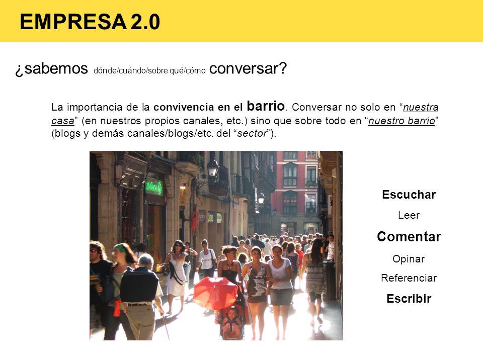 ¿sabemos dónde/cuándo/sobre qué/cómo conversar? EMPRESA 2.0 La importancia de la convivencia en el barrio. Conversar no solo en nuestra casa (en nuest