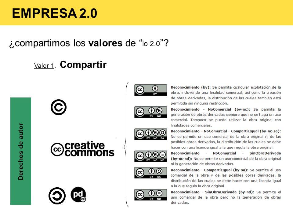 ¿compartimos los valores de lo 2.0 ? Valor 1. Compartir Derechos de autor EMPRESA 2.0