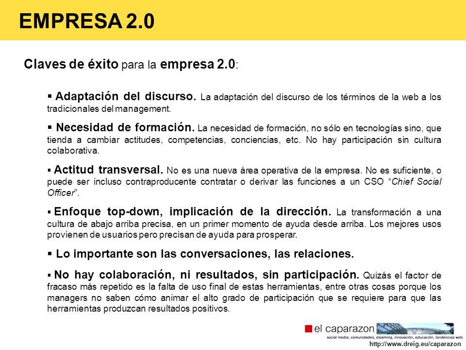 Claves de éxito para la empresa 2.0 : Adaptación del discurso. La adaptación del discurso de los términos de la web a los tradicionales del management