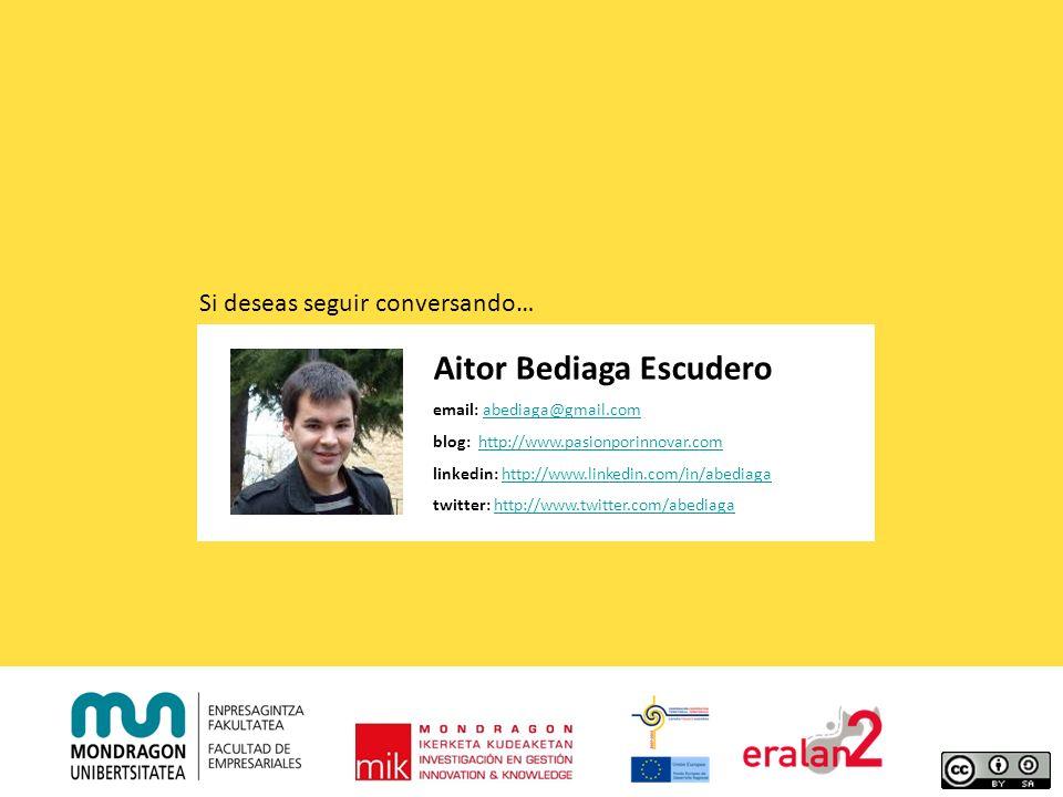 Aitor Bediaga Escudero email: abediaga@gmail.comabediaga@gmail.com blog: http://www.pasionporinnovar.comhttp://www.pasionporinnovar.com linkedin: http