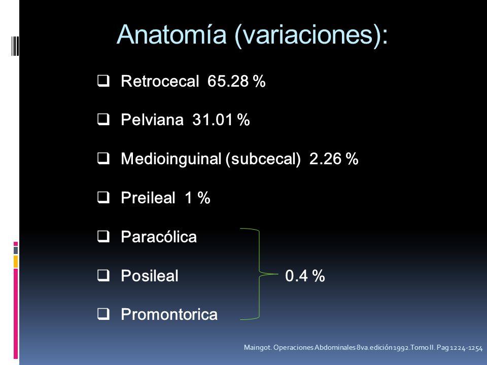 Retrocecal 65.28 % Pelviana 31.01 % Medioinguinal (subcecal) 2.26 % Preileal 1 % Paracólica Posileal 0.4 % Promontorica Maingot. Operaciones Abdominal