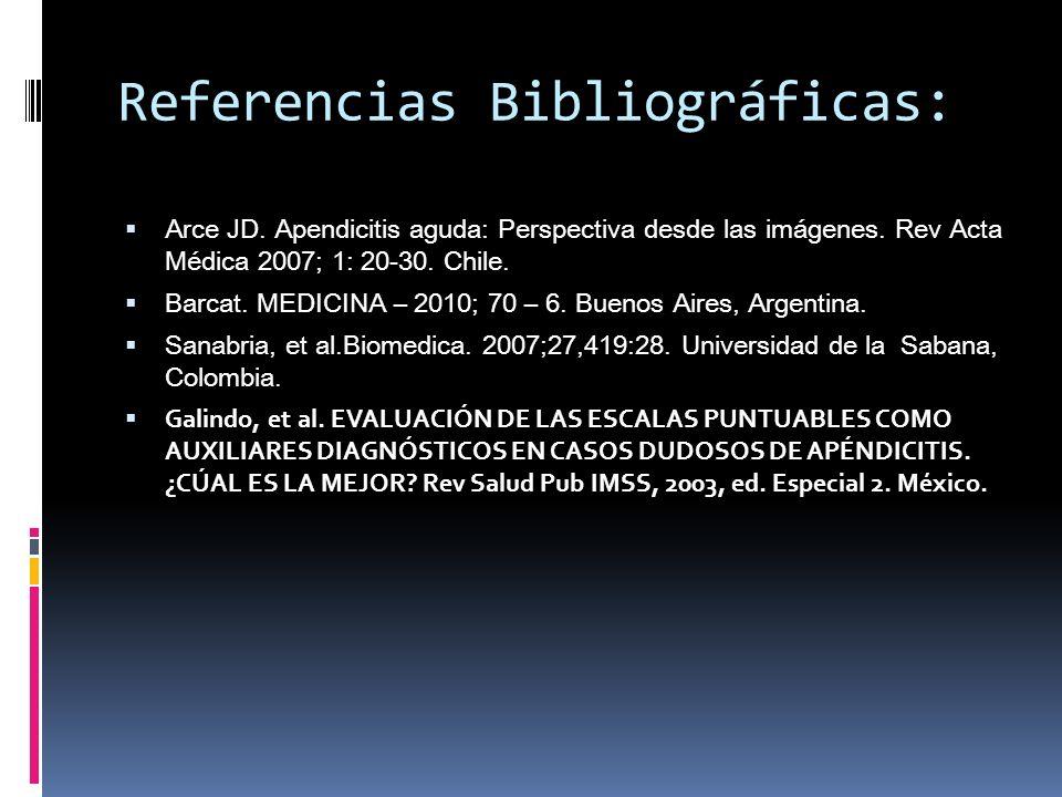 Referencias Bibliográficas: Arce JD. Apendicitis aguda: Perspectiva desde las imágenes. Rev Acta Médica 2007; 1: 20-30. Chile. Barcat. MEDICINA – 2010