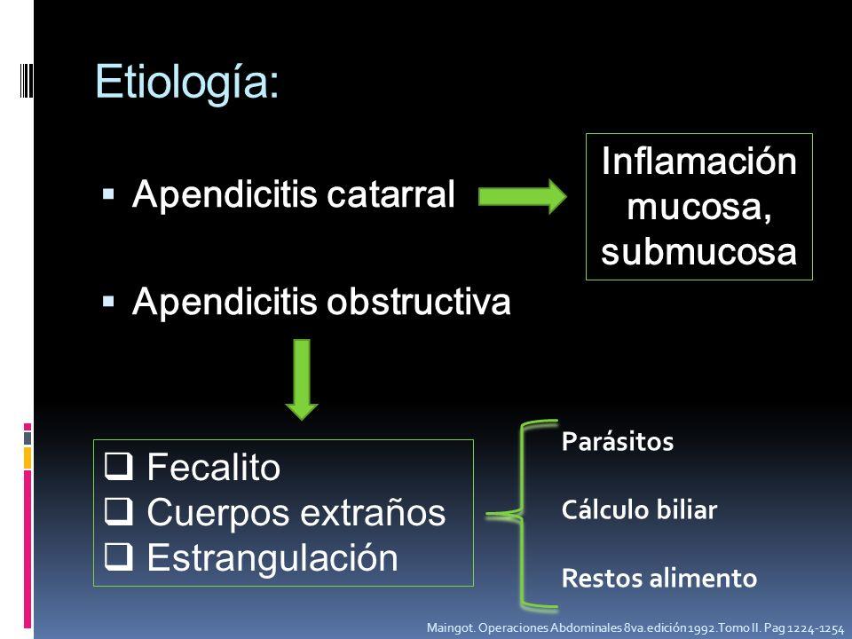Etiología: Apendicitis catarral Apendicitis obstructiva Inflamación mucosa, submucosa Fecalito Cuerpos extraños Estrangulación Parásitos Cálculo bilia