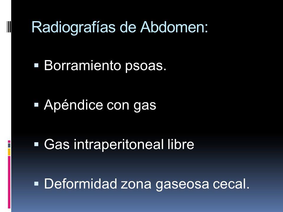 Radiografías de Abdomen: Borramiento psoas. Apéndice con gas Gas intraperitoneal libre Deformidad zona gaseosa cecal.