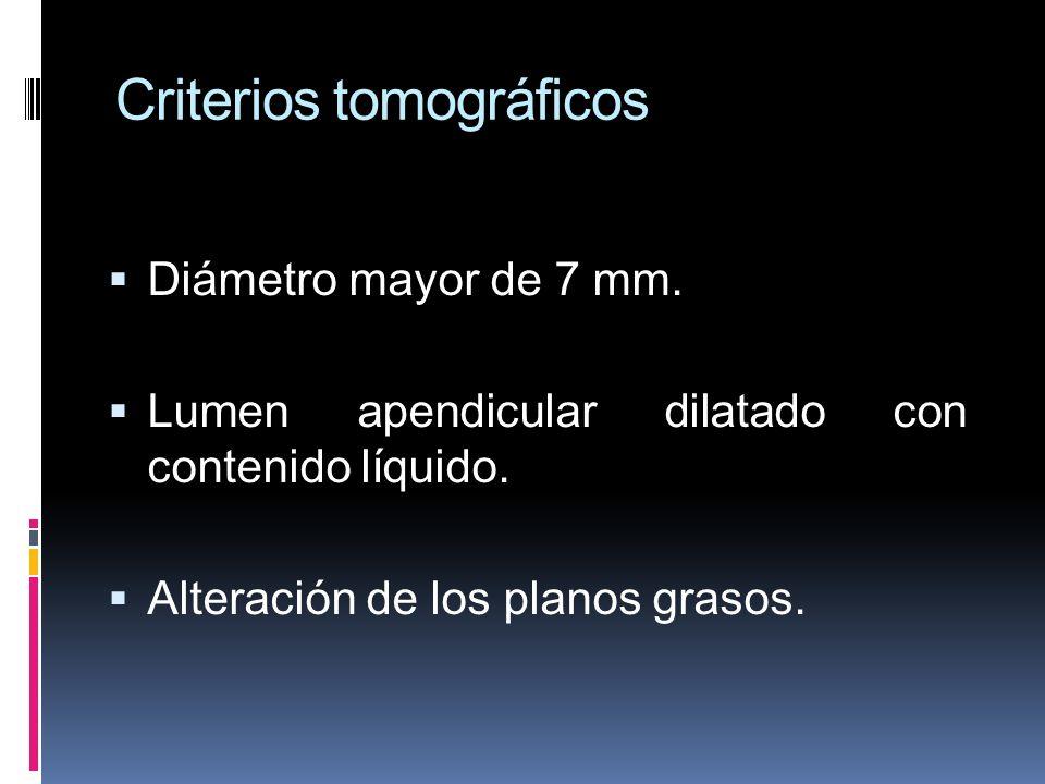 Criterios tomográficos Diámetro mayor de 7 mm. Lumen apendicular dilatado con contenido líquido. Alteración de los planos grasos.