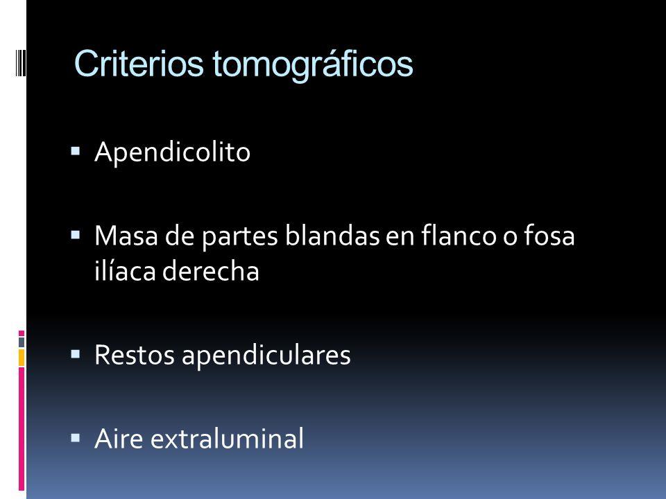 Criterios tomográficos Apendicolito Masa de partes blandas en flanco o fosa ilíaca derecha Restos apendiculares Aire extraluminal