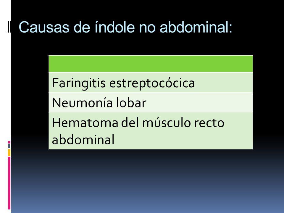 Causas de índole no abdominal: Faringitis estreptocócica Neumonía lobar Hematoma del músculo recto abdominal