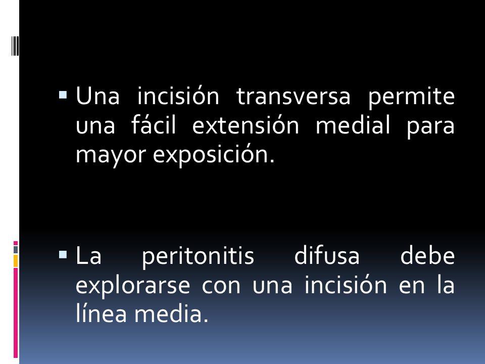 Una incisión transversa permite una fácil extensión medial para mayor exposición. La peritonitis difusa debe explorarse con una incisión en la línea m