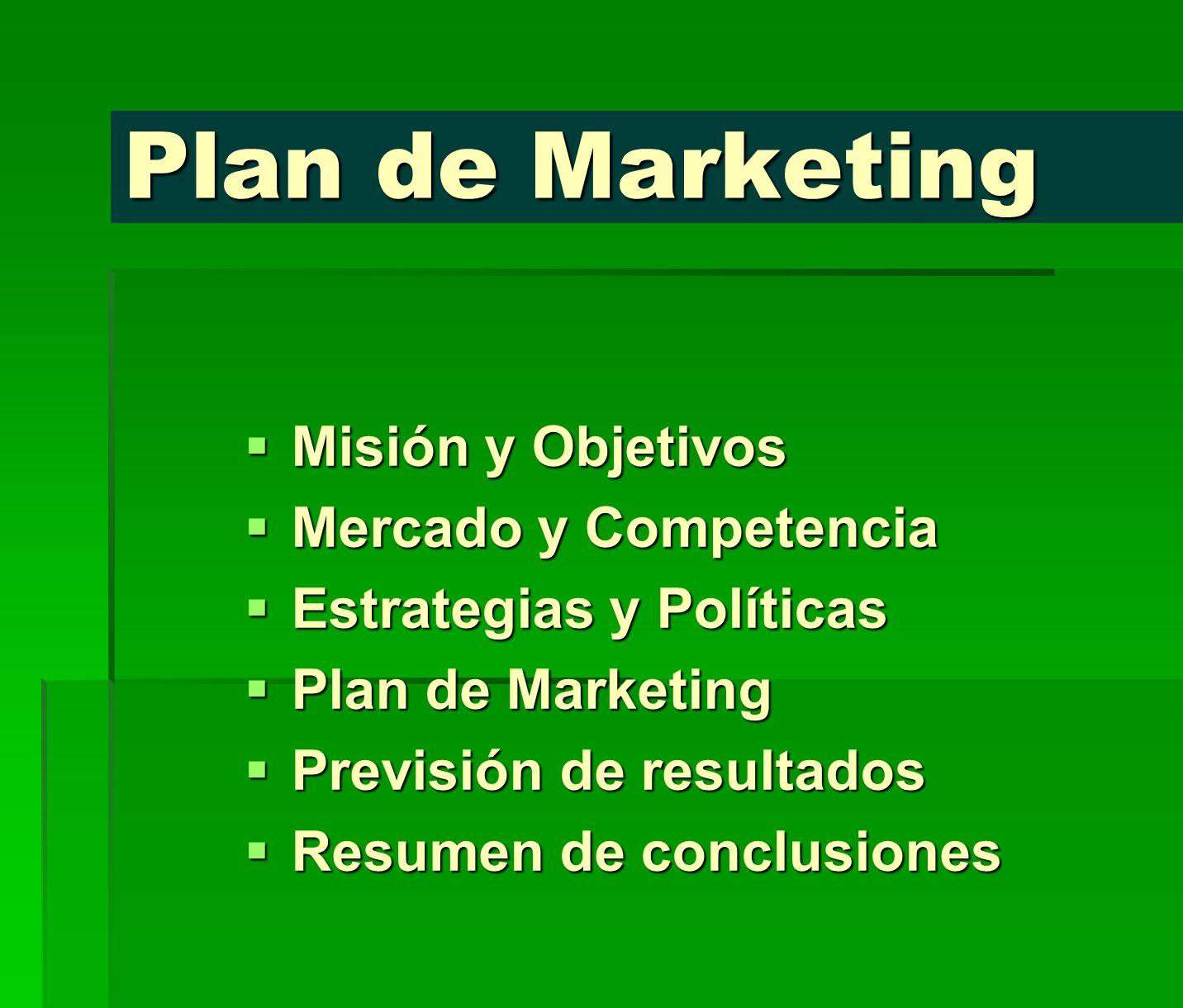 Plan de Marketing Misión y Objetivos Misión y Objetivos Mercado y Competencia Mercado y Competencia Estrategias y Políticas Estrategias y Políticas Pl