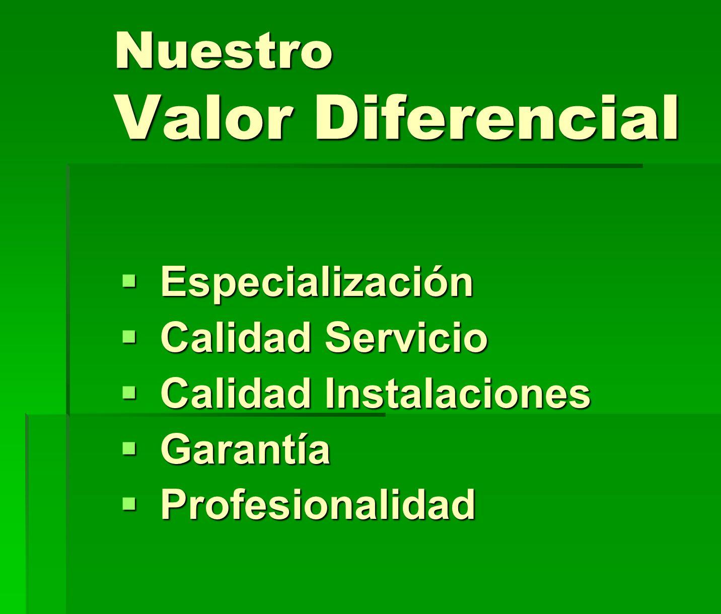 Nuestro Valor Diferencial Especialización Especialización Calidad Servicio Calidad Servicio Calidad Instalaciones Calidad Instalaciones Garantía Garan