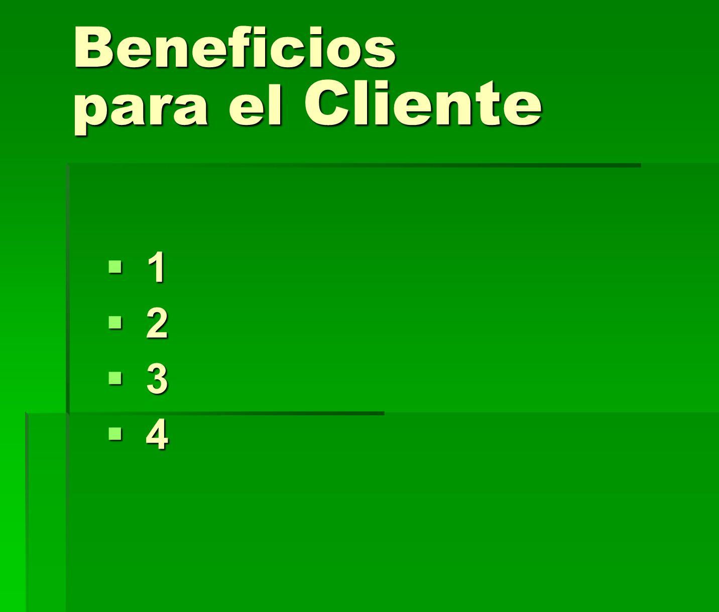 Beneficios para el Cliente 1 1 2 2 3 3 4 4