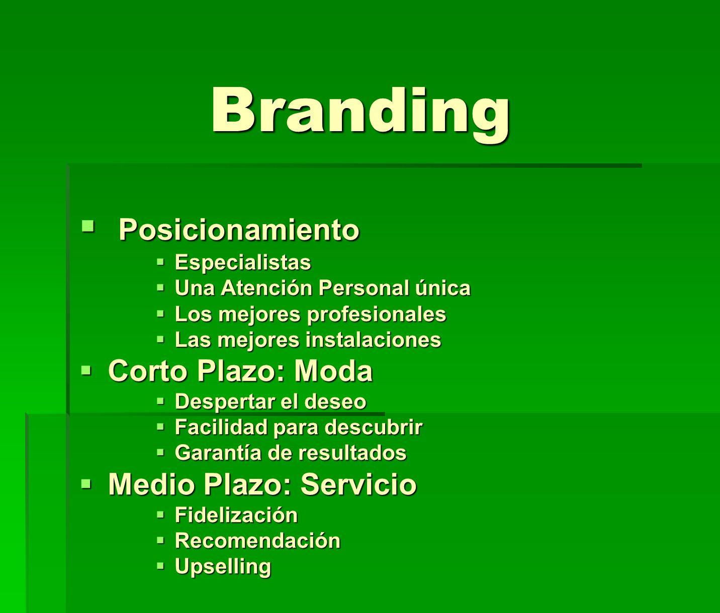 Branding Posicionamiento Posicionamiento Especialistas Especialistas Una Atención Personal única Una Atención Personal única Los mejores profesionales