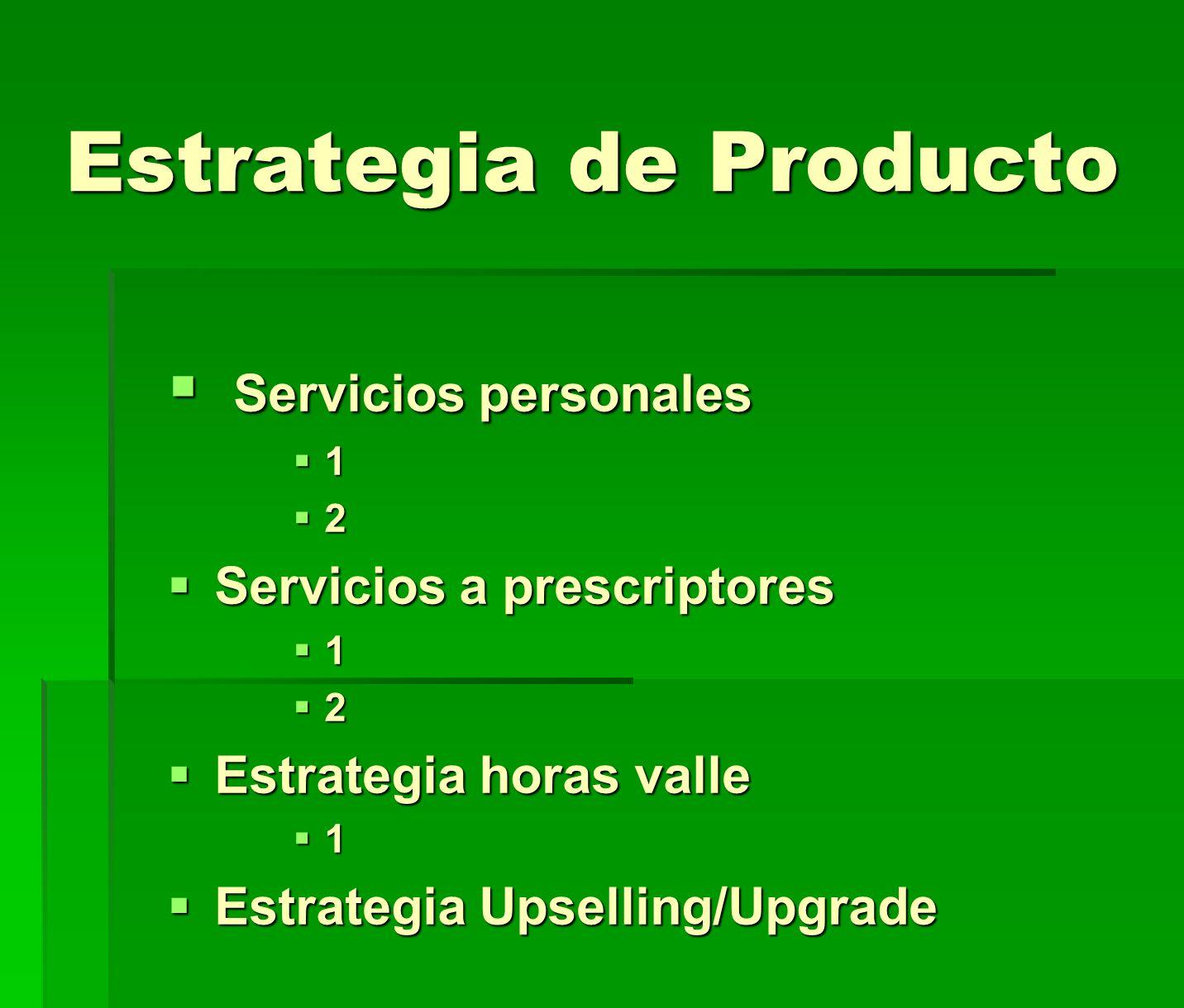 Estrategia de Producto Servicios personales Servicios personales 1 2 Servicios a prescriptores Servicios a prescriptores 1 2 Estrategia horas valle Es
