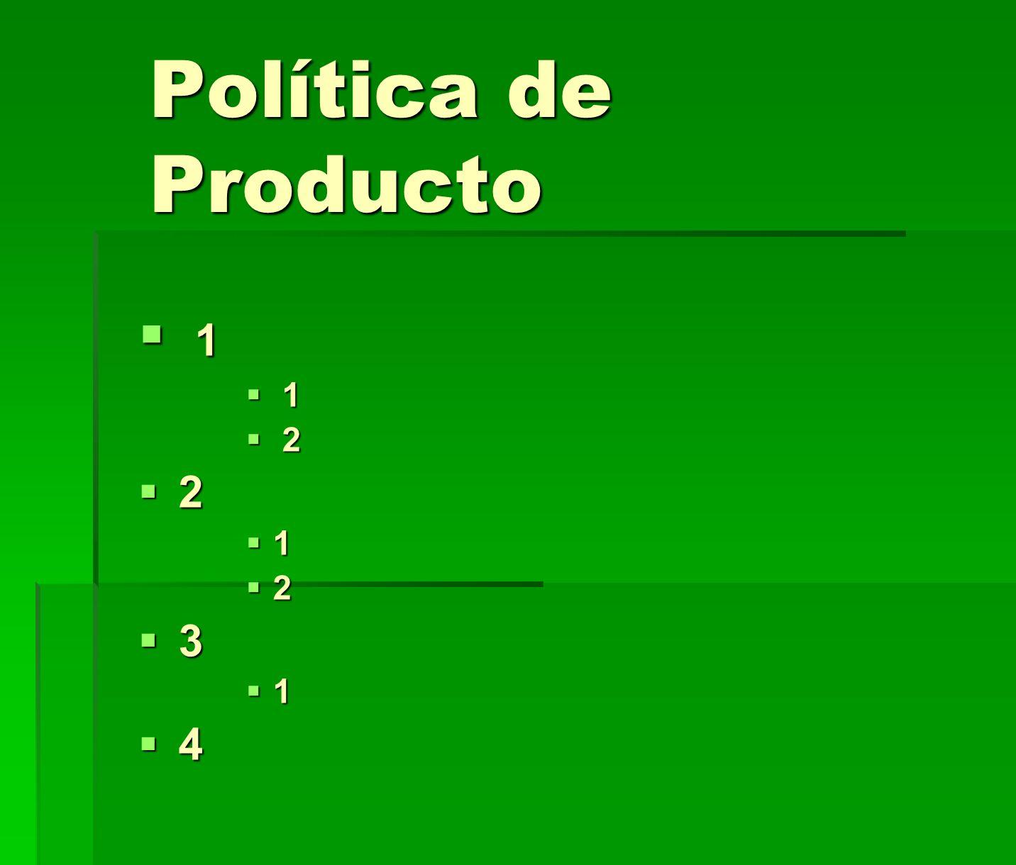 Política de Producto 1 1 2 2 2 1 2 3 1 4
