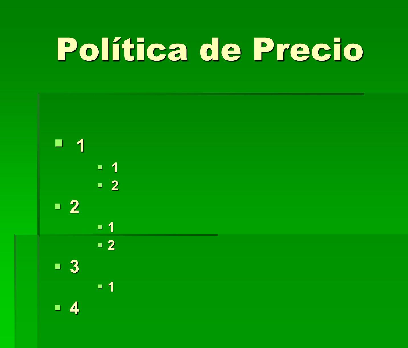 Política de Precio 1 1 2 2 2 1 2 3 1 4