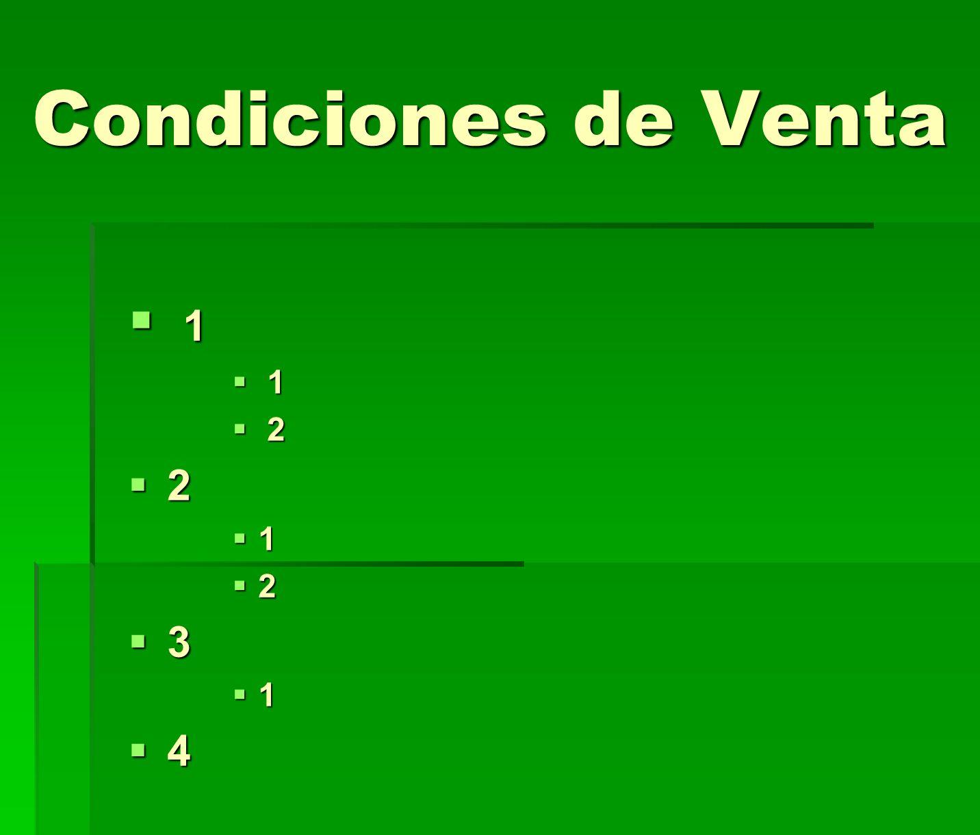 Condiciones de Venta 1 1 2 2 2 1 2 3 1 4