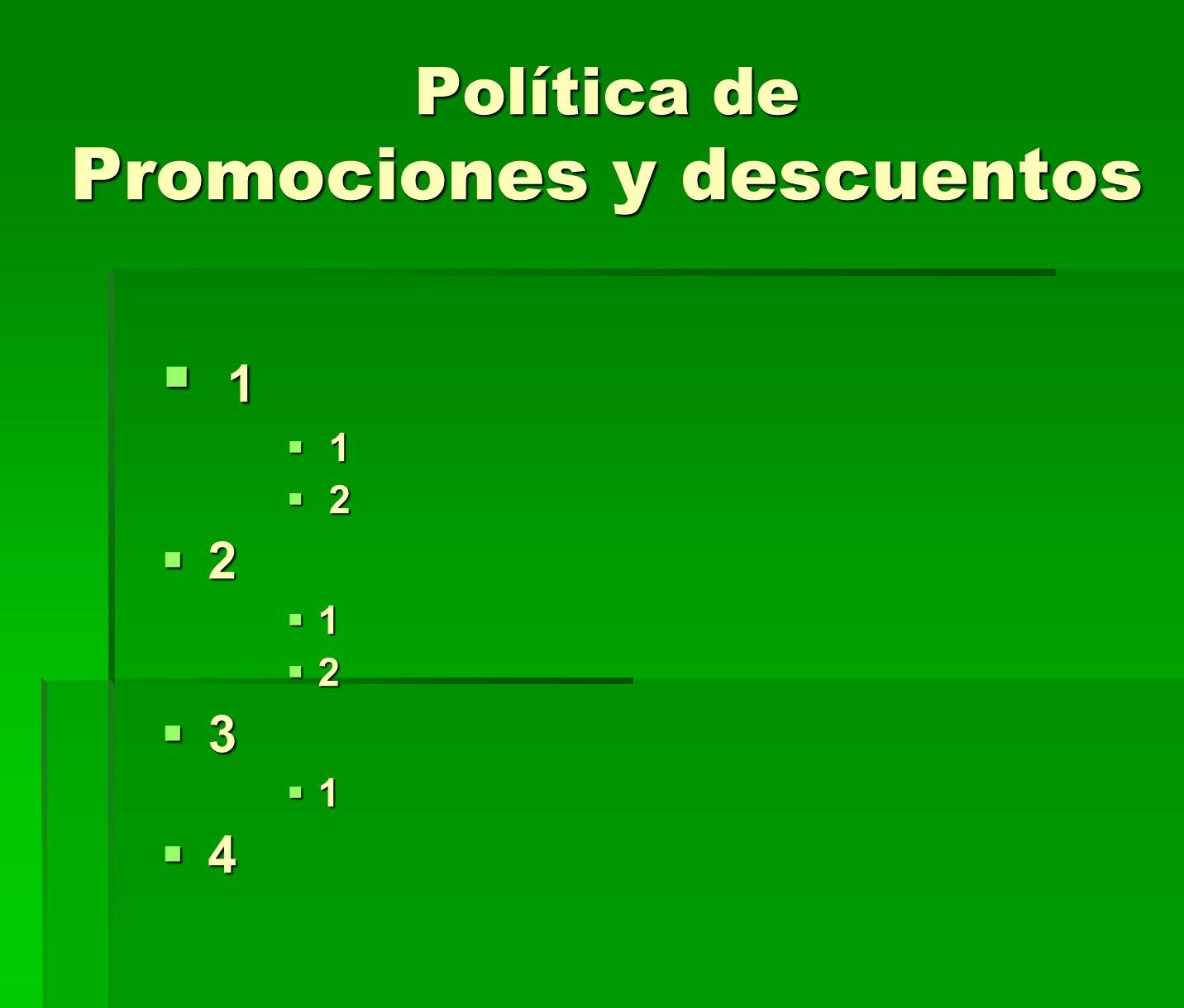 Política de Promociones y descuentos 1 1 2 2 2 1 2 3 1 4