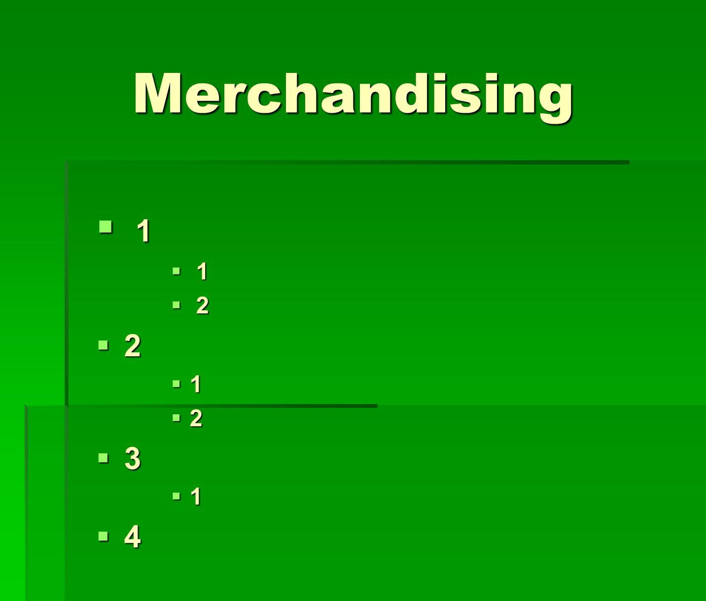 Merchandising 1 1 2 2 2 1 2 3 1 4