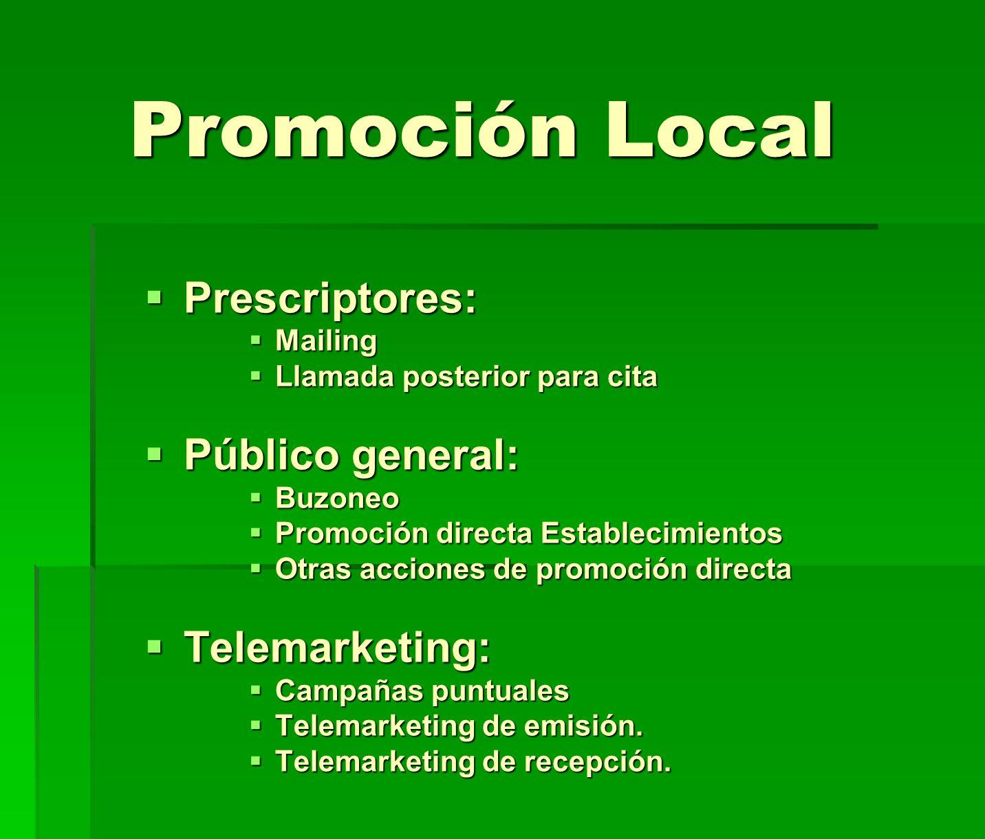 Promoción Local Prescriptores: Prescriptores: Mailing Mailing Llamada posterior para cita Llamada posterior para cita Público general: Público general