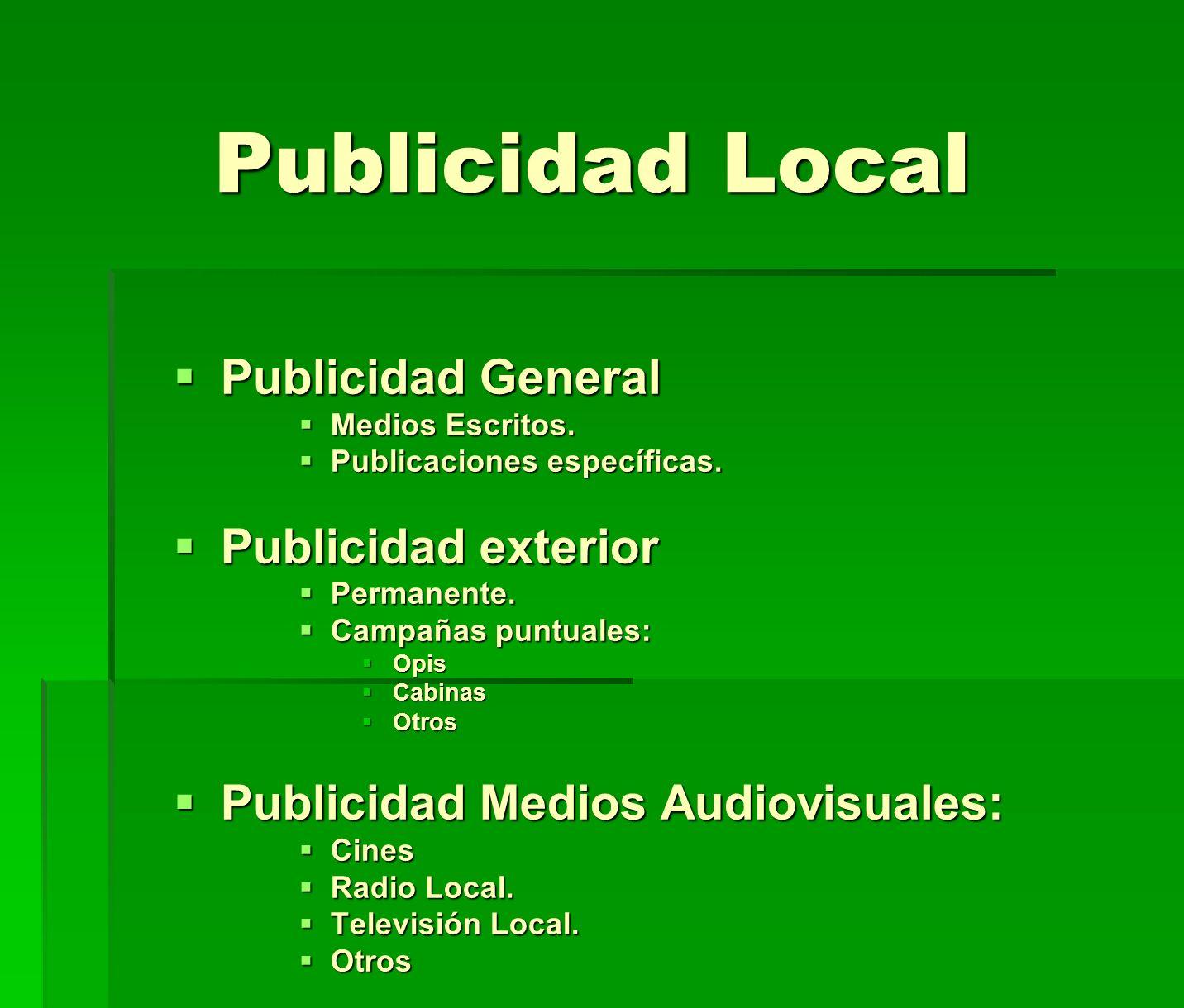 Publicidad Local Publicidad General Publicidad General Medios Escritos. Medios Escritos. Publicaciones específicas. Publicaciones específicas. Publici