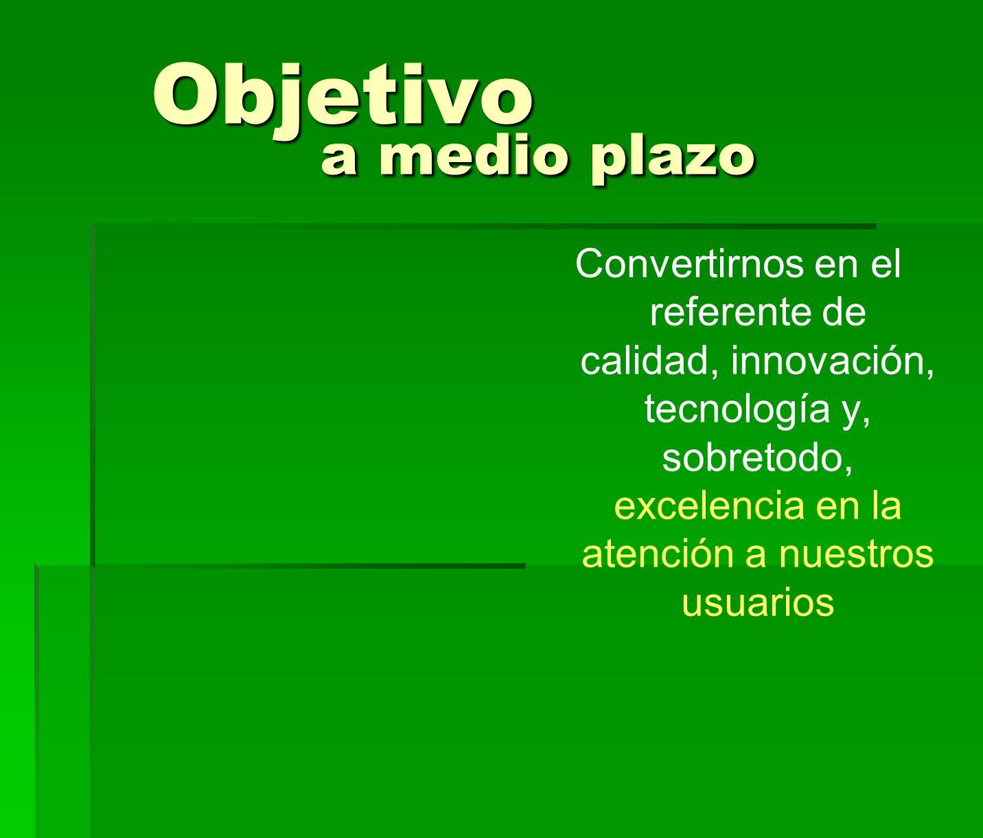 Objetivo a medio plazo Objetivo a medio plazo Convertirnos en el referente de calidad, innovación, tecnología y, sobretodo, excelencia en la atención