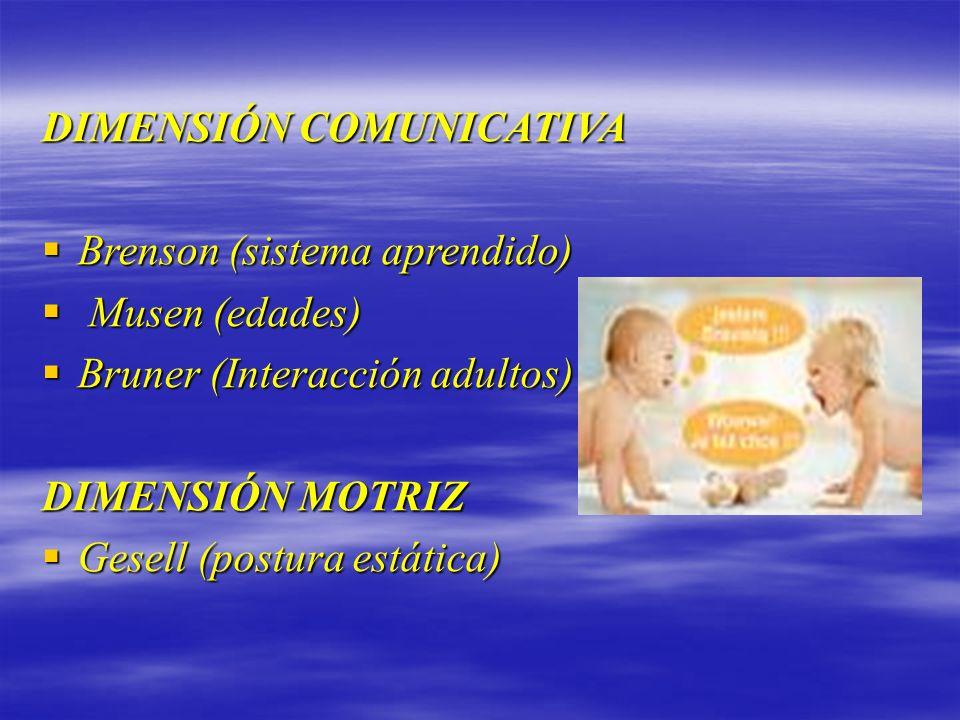 DIMENSIÓN COMUNICATIVA Brenson (sistema aprendido) Brenson (sistema aprendido) Musen (edades) Musen (edades) Bruner (Interacción adultos) Bruner (Inte