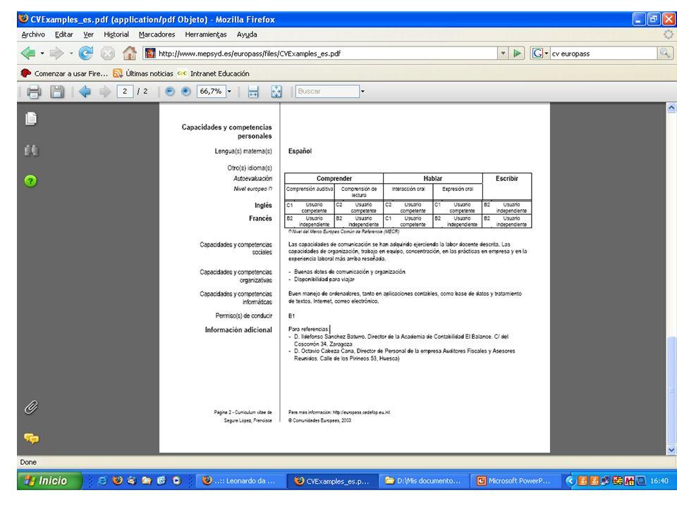 PROCEDIMIENTO PARA EL ALUMNADO Documentación: CV Europass Cuestionario del participante http://www.mepsyd.es/europass/files/CV Examples_es.pdf