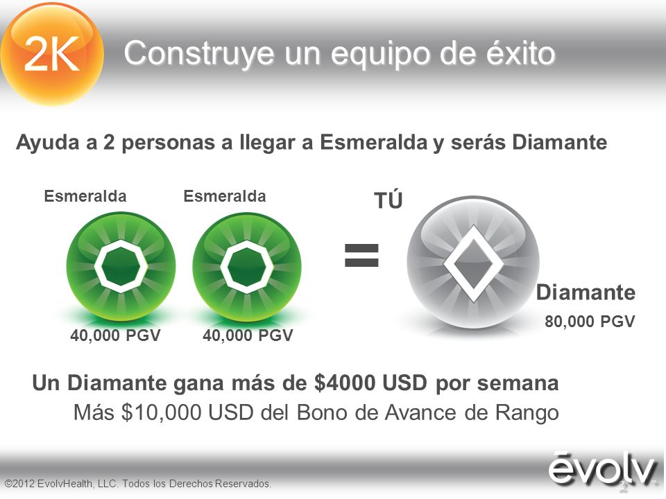 10 ©2012 EvolvHealth, LLC. Todos los Derechos Reservados. Ayuda a 2 personas a llegar a Esmeralda y serás Diamante = Construye un equipo de éxito TÚ 8
