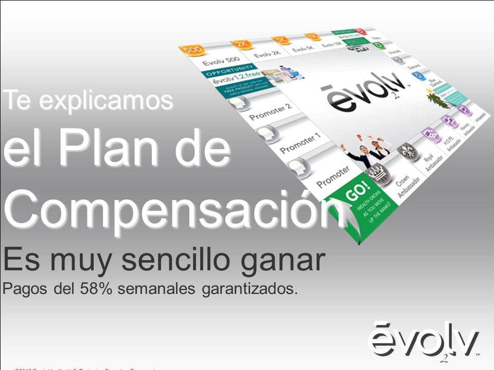 Te explicamos el Plan de Compensación Es muy sencillo ganar Pagos del 58% semanales garantizados. ©2012 EvolvHealth, LLC. Todos los Derechos Reservado