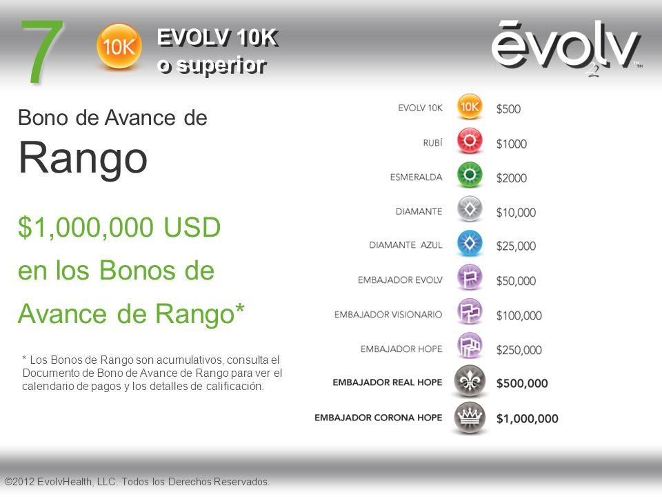 7 Bono de Avance de Rango EVOLV 10K o superior $1,000,000 USD en los Bonos de Avance de Rango* ©2012 EvolvHealth, LLC. Todos los Derechos Reservados.